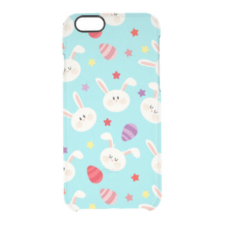 Vintage whimsical bunny and egg turquoise pattern clear iPhone 6/6S case