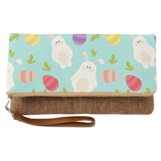 Vintage whimsical bunny and egg turquoise pattern clutch