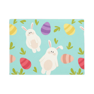 Vintage whimsical bunny and egg turquoise pattern doormat
