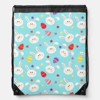 Vintage whimsical bunny and egg turquoise pattern drawstring bag