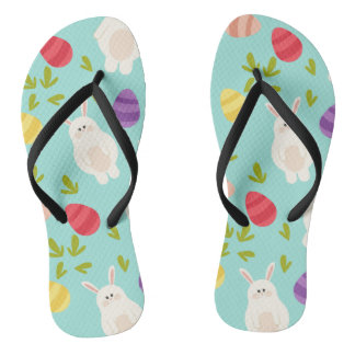 Vintage whimsical bunny and egg turquoise pattern flip flops