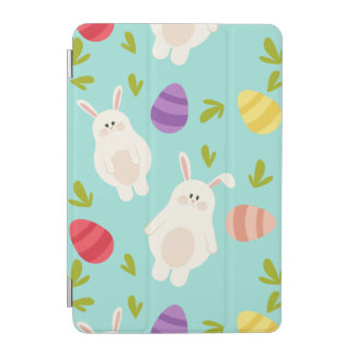 Vintage whimsical bunny and egg turquoise pattern iPad mini cover