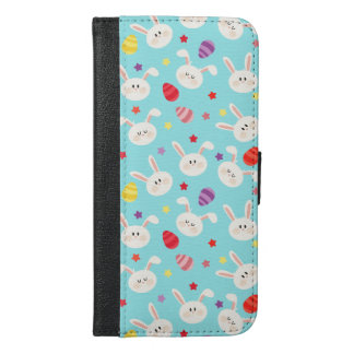 Vintage whimsical bunny and egg turquoise pattern iPhone 6/6s plus wallet case