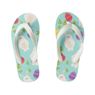 Vintage whimsical bunny and egg turquoise pattern kid's flip flops