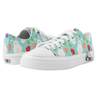 Vintage whimsical bunny and egg turquoise pattern Low-Top sneakers