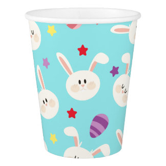 Vintage whimsical bunny and egg turquoise pattern paper cup
