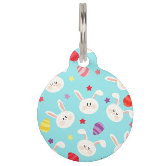 Vintage whimsical bunny and egg turquoise pattern pet name tag