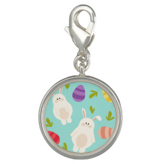 Vintage whimsical bunny and egg turquoise pattern photo charm