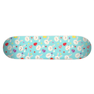 Vintage whimsical bunny and egg turquoise pattern skate decks