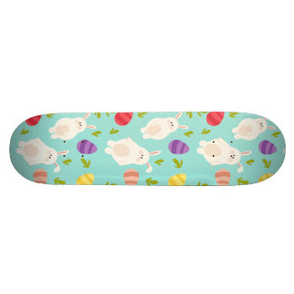 Vintage whimsical bunny and egg turquoise pattern skateboard decks