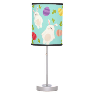 Vintage whimsical bunny and egg turquoise pattern table lamp