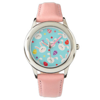 Vintage whimsical bunny and egg turquoise pattern watches