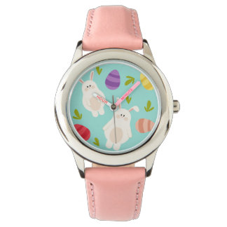Vintage whimsical bunny and egg turquoise pattern wrist watch