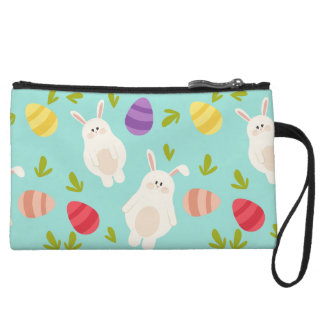 Vintage whimsical bunny and egg turquoise pattern wristlet