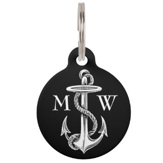 Vintage White Anchor Rope Black Background Pet Tags