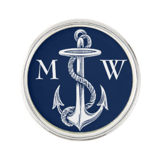 Vintage White Anchor Rope Navy Blue Background Lapel Pin