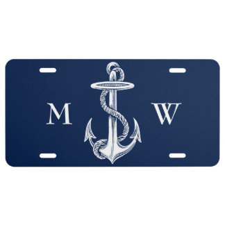 Vintage White Anchor Rope Navy Blue Background License Plate