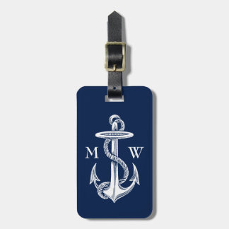 Vintage White Anchor Rope Navy Blue Background Tags For Luggage