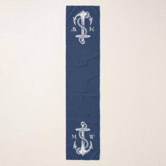 Vintage White Anchor Rope Navy Blue Monogram Scarf