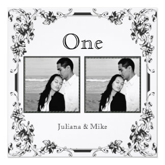"Vintage White and Black Photo Table Number 5.25"" Square Invitation Card"