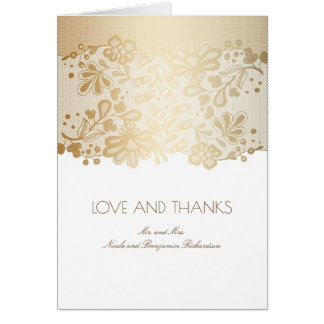 Vintage White and Gold Lace Wedding Thank You Card
