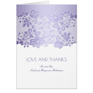 Vintage White and Lavender Lace Wedding Thank You Card