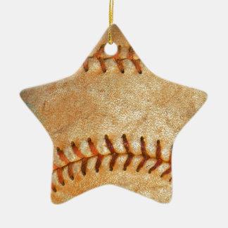 Vintage White Baseball red stitching Ceramic Star Ornament