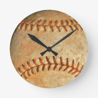 Vintage White Baseball red stitching Round Clock