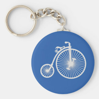 Vintage White Bicycle on Blue Keychain