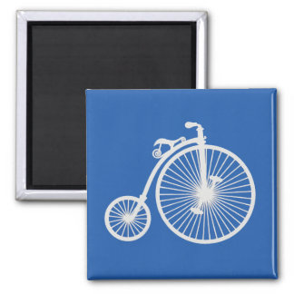 Vintage White Bicycle on Blue Magnet