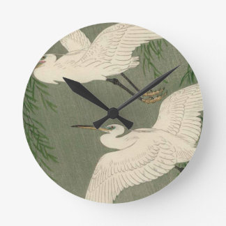 Vintage White Birds Wall Clock