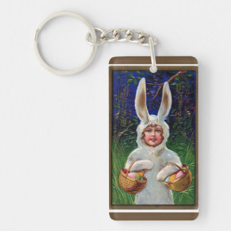 Vintage White Bunny Suit Easter Double-Sided Rectangular Acrylic Keychain