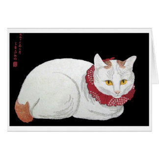 Vintage White Cat Card