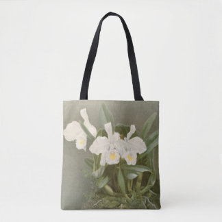 Vintage white christmas orchid floral art tote bag