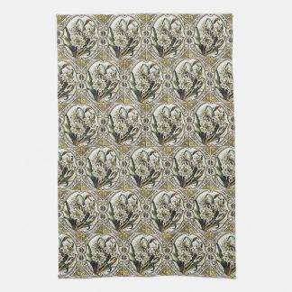 Vintage White Daffodil Tile Pattern Kitchen Towels