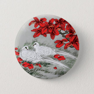 Vintage White Doves and Red Leaves on Gray / Grey 2 Inch Round Button