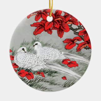Vintage White Doves and Red Leaves on Gray / Grey Ceramic Ornament