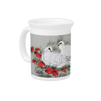 Vintage White Doves and Red Leaves on Gray Pitcher