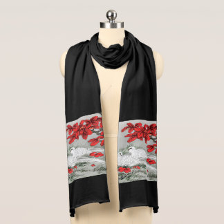 Vintage White Doves and Red Leaves on Gray Scarf