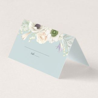 Vintage White Floral Wedding Place Card