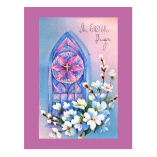 Vintage White Flowers Stained Glass Easter Postcard