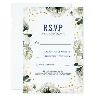 "Vintage White Flowers Wedding RSVP Cards 3.5"" X 5"" Invitation Card"