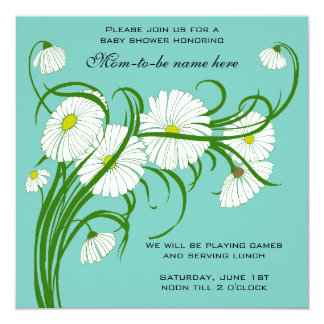 Vintage White Gerber Daisy Flowers Boy Baby Shower Card