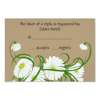 Vintage White Gerber Daisy Flowers Wedding Set Card