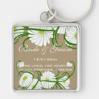 Vintage White Gerber Daisy Flowers Wedding Set Keychain