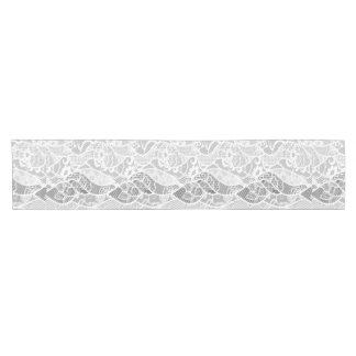 Vintage white gray floral french lace pattern short table runner