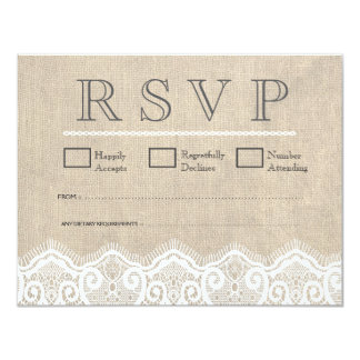 "Vintage White Lace & Burlap Wedding RSVP Cards 4.25"" X 5.5"" Invitation Card"