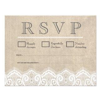 Vintage White Lace Burlap Wedding RSVP Cards