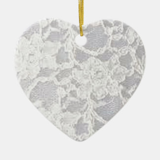 Vintage White Lace Ceramic Ornament