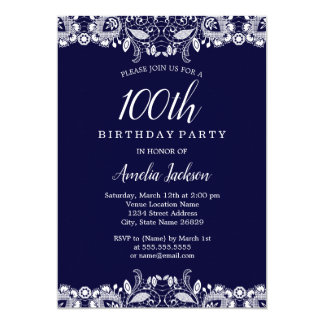 Vintage White Lace Navy 100th Birthday Party Card